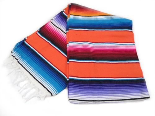 "Serape Sarape Mexican Blanket XL 84"" x 55""  (Orange)"