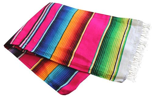 "Serape Sarape Mexican Blanket XL 84"" x 55""  (Pink)"