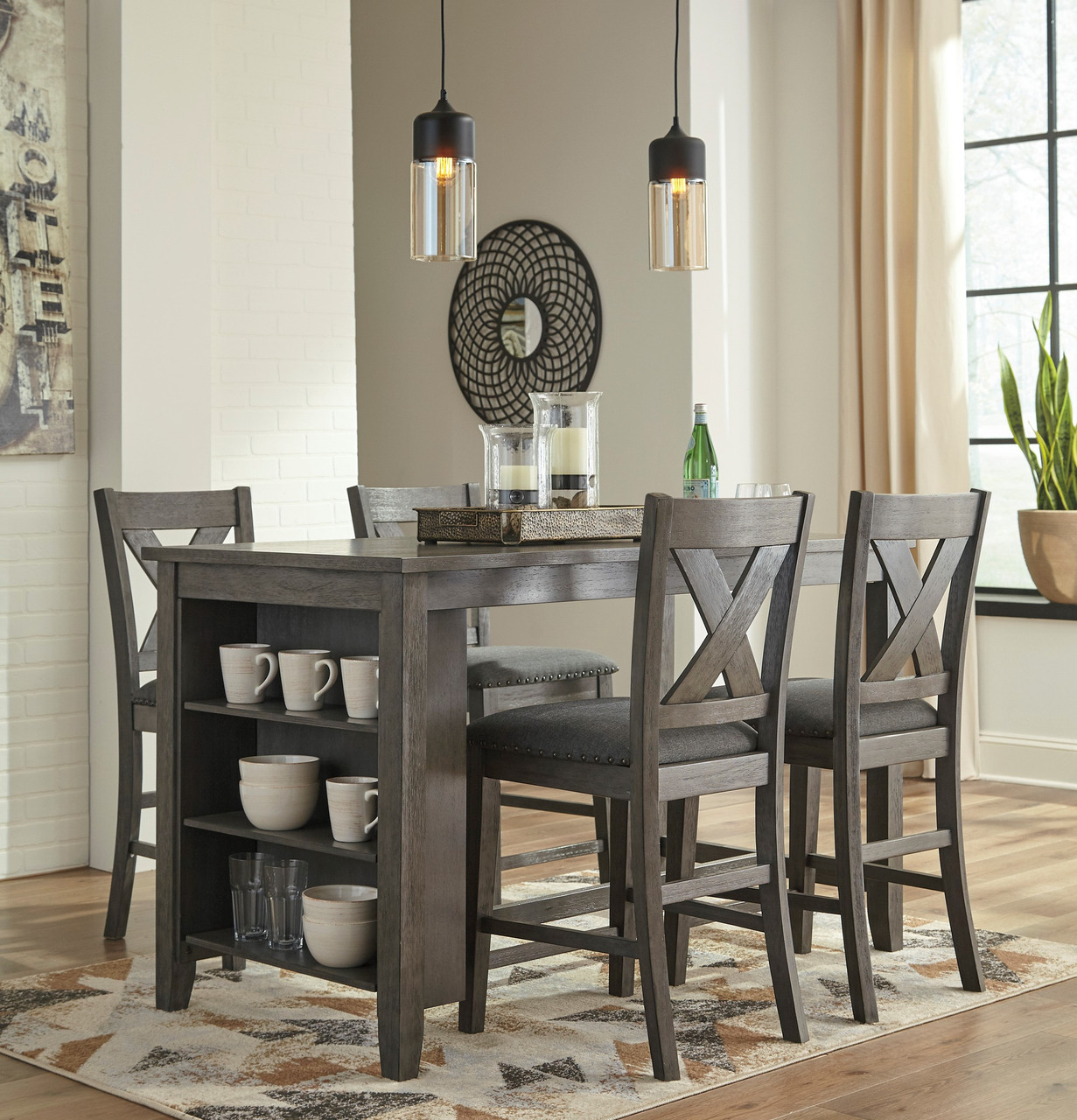 5 Piece Counter Height Dining Set Gray