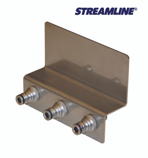 3 Port Under Bumper Stainless Bracket w/Stainless Steel Male Couplers