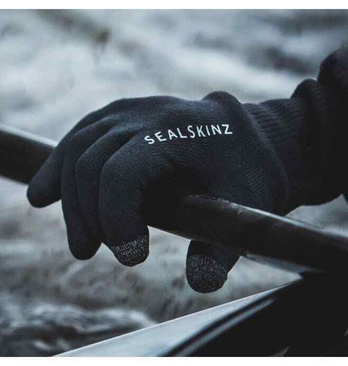Sealskinz Waterproof All Weather Ultra Grip Knitted Cycle Gloves Merino Wool
