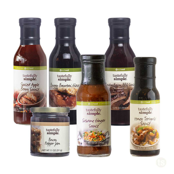 Sauce Assortment with 6 Bottles Displayed
