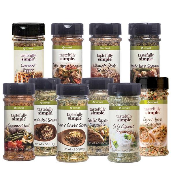 10 Gourmet Seasonings Assortment Displayed