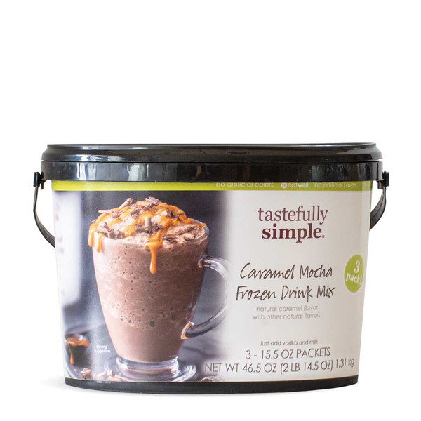 Caramel Mocha Frozen Drink Mix Value Pack Bucket Displayed