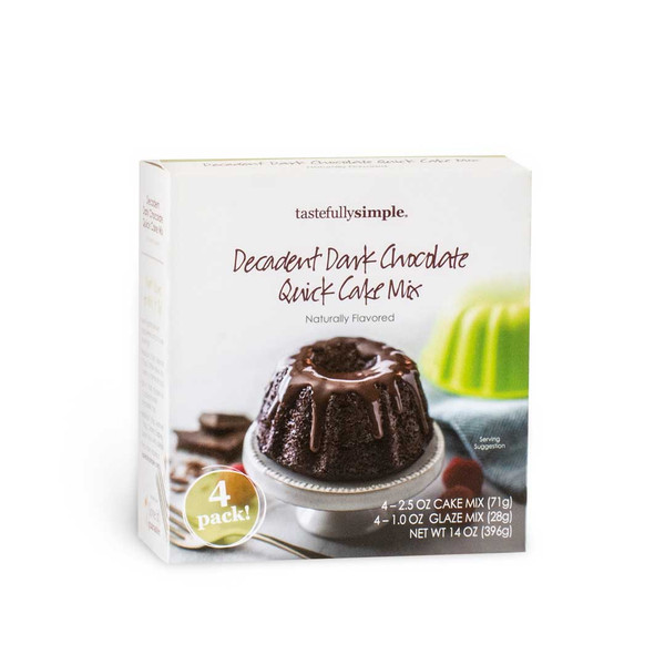 Decadent Dark Chocolate Quick Cake Mix 4-Pack Box