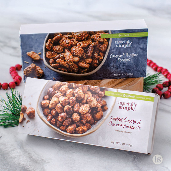 Go Nuts Gift duo include Coconut Praline Pecans and Salty Caramel Churro Almonds