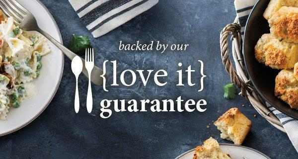 Backed by Our Love it Guarantee. Shop Now text on a background showing cooking preparation