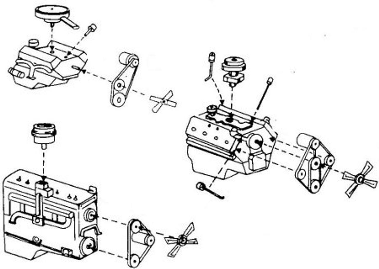 3 engine kits: ford flathead v-8, chevy small block v-8, dodge flathead 6  cylinder