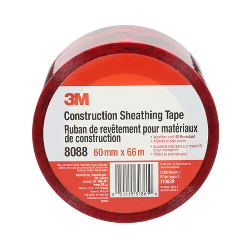 3M™ Construction Sheathing Tape, 8088, 60 mm x 66 m, individually wrapped
