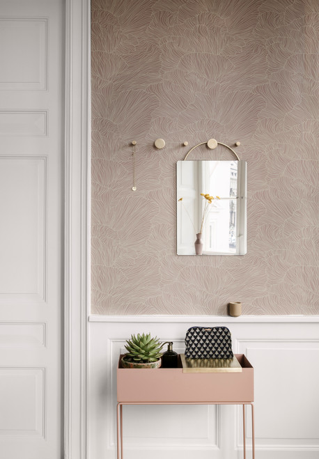 ferm living planters in rose brass trays with brass knobs