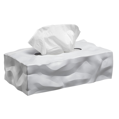 crinkled paper tissue box rectangular white