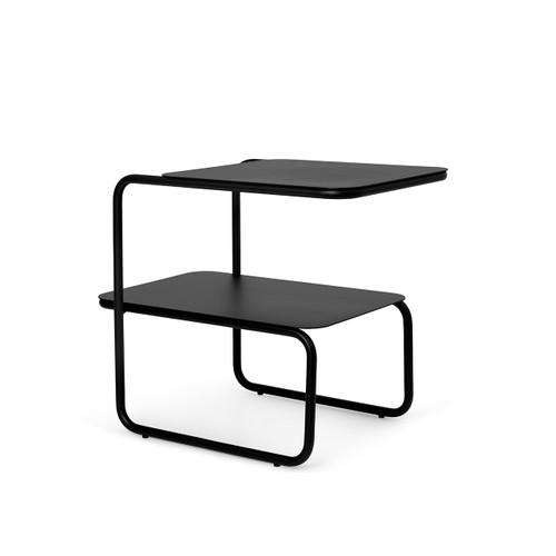 ferm living level side table black two tiers