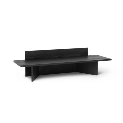 ferm oblique bench low display tables dark stained oak