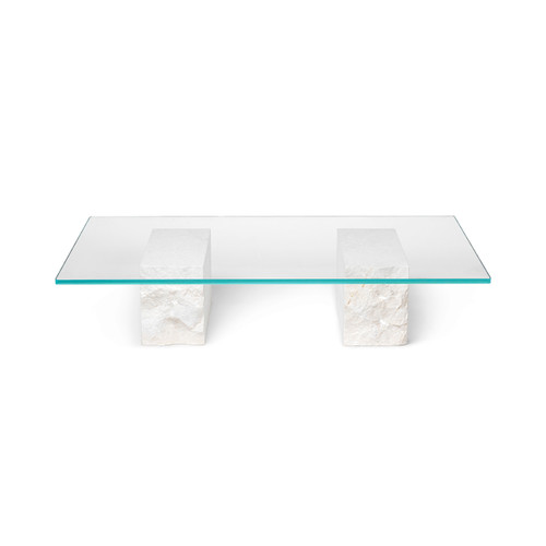 stone chunks mineral legs with glass top coffee tables