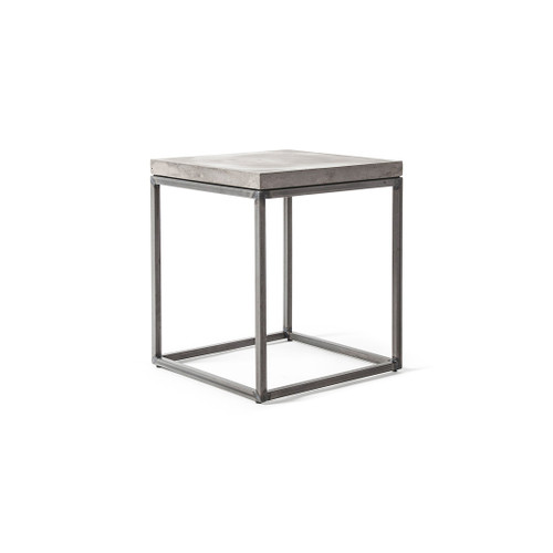 concrete side table with metal legs
