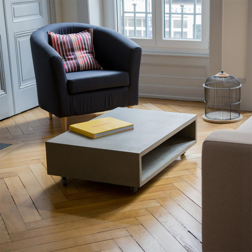 Coffee Table features a minimalist design with a touch of raw, industrial, modernism.
