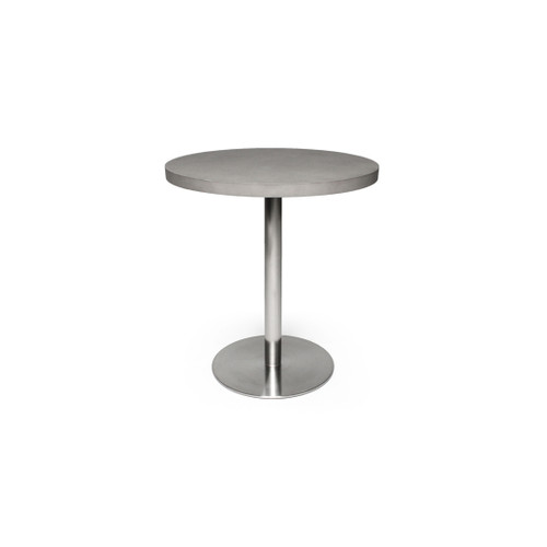 concrete table top and metal base.