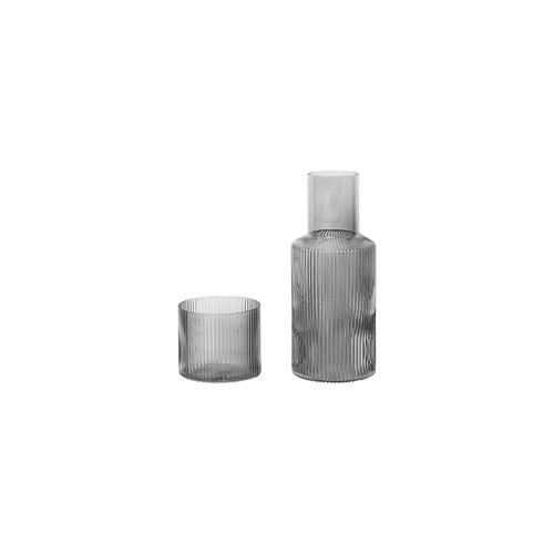 ferm ripple mini carafe set smokey grey