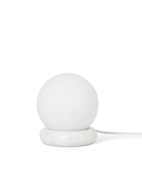 ferm living rest lamp round white marble