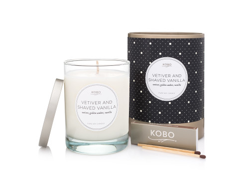 kobo's vetiver and shaved vanilla soy candle