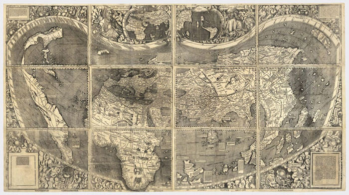 Martin Waldseemuller's world map with Ptolemaic projection, 1507