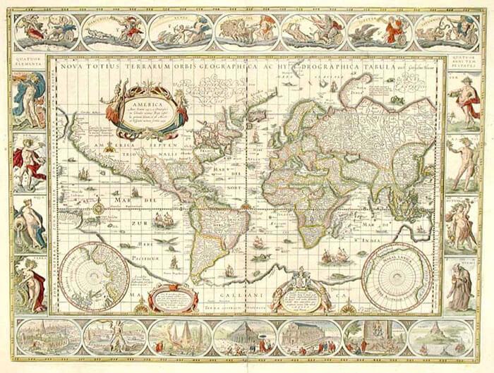Willem Blaeu World Map, circa 1640