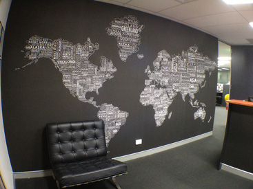 text map wall mural installed in office