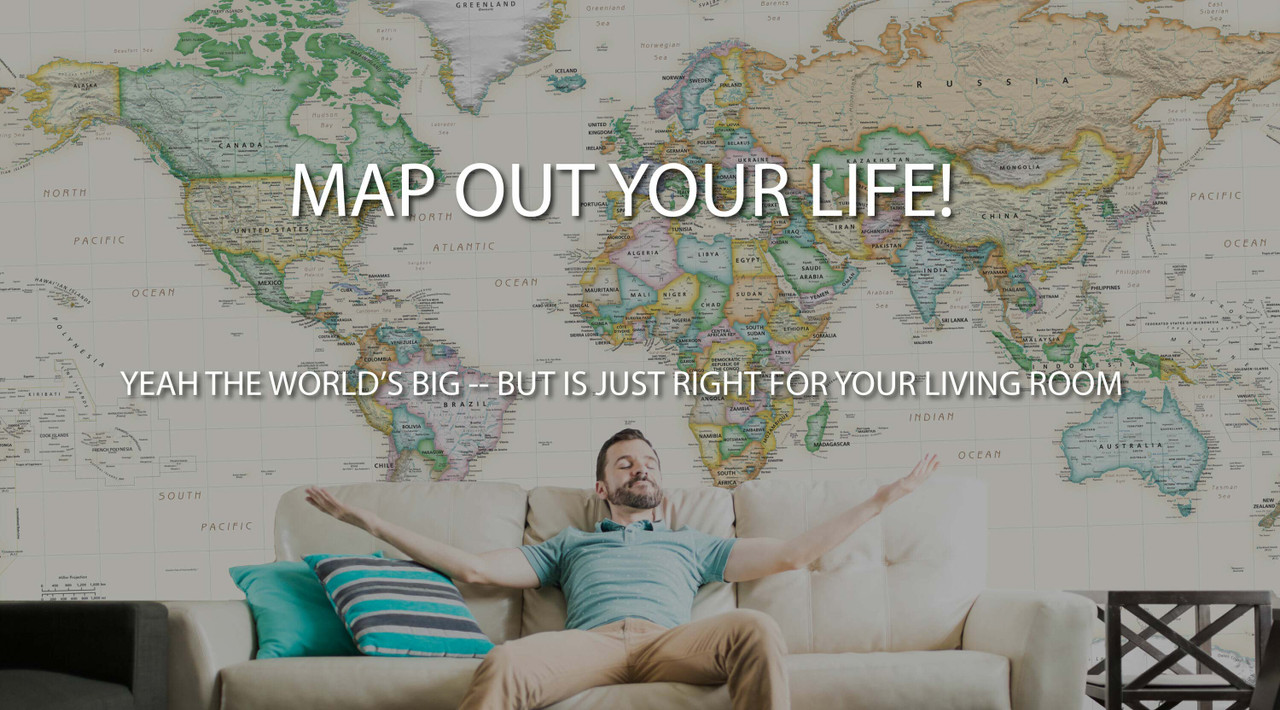 Giant World Map Wall Mural