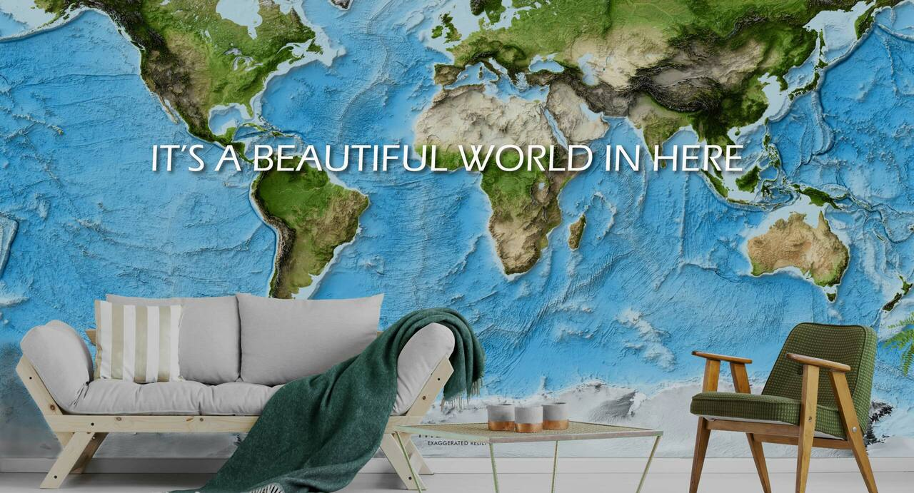 Large Shaded Relief World Map