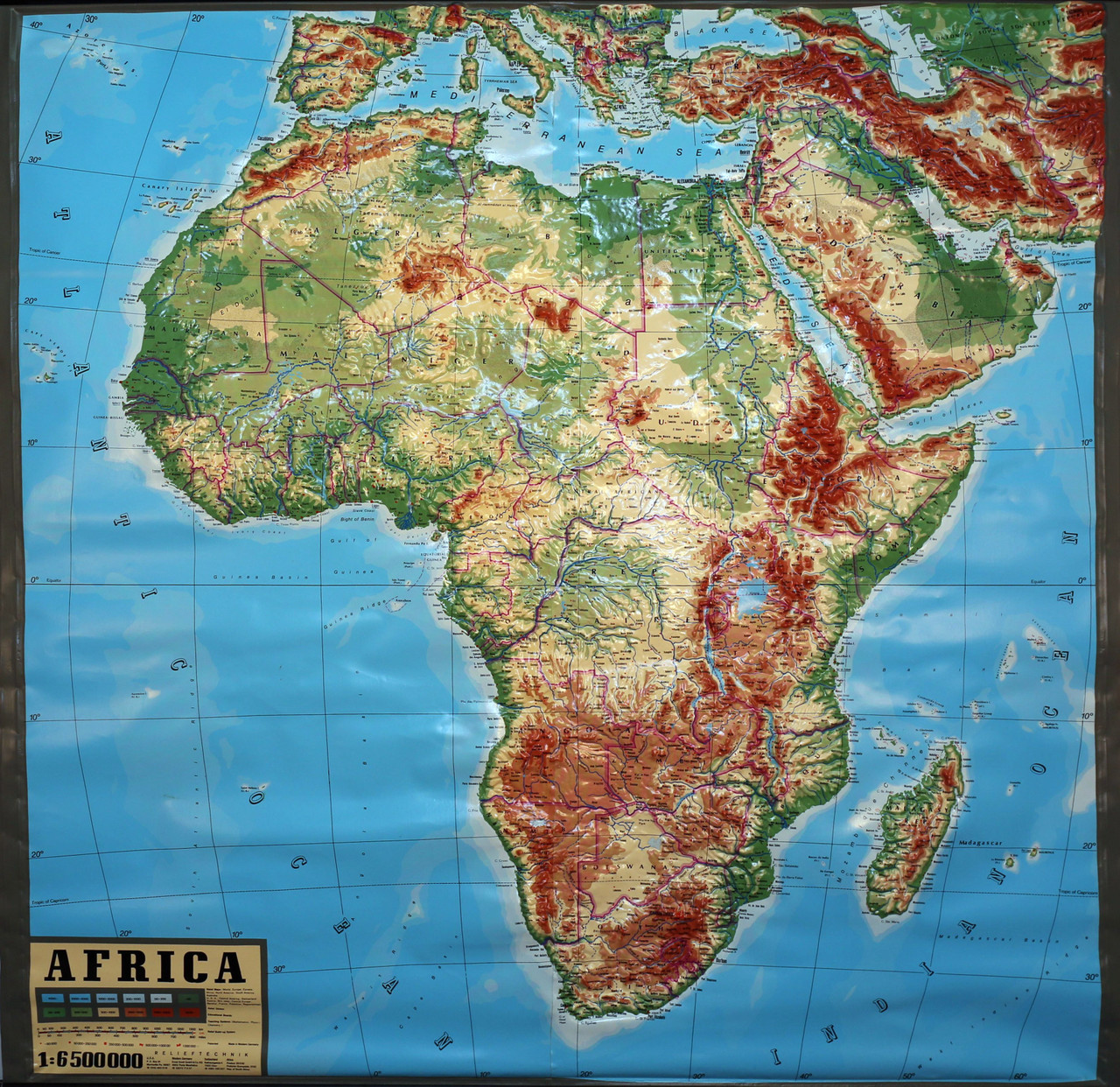 Africa Relief Map Africa Large Extreme Raised Relief Map   Relief Technik   Vintage