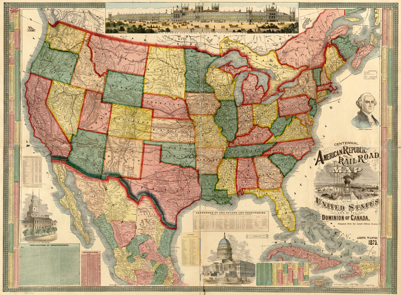 Image of: United States 1875 Wall Map Mural
