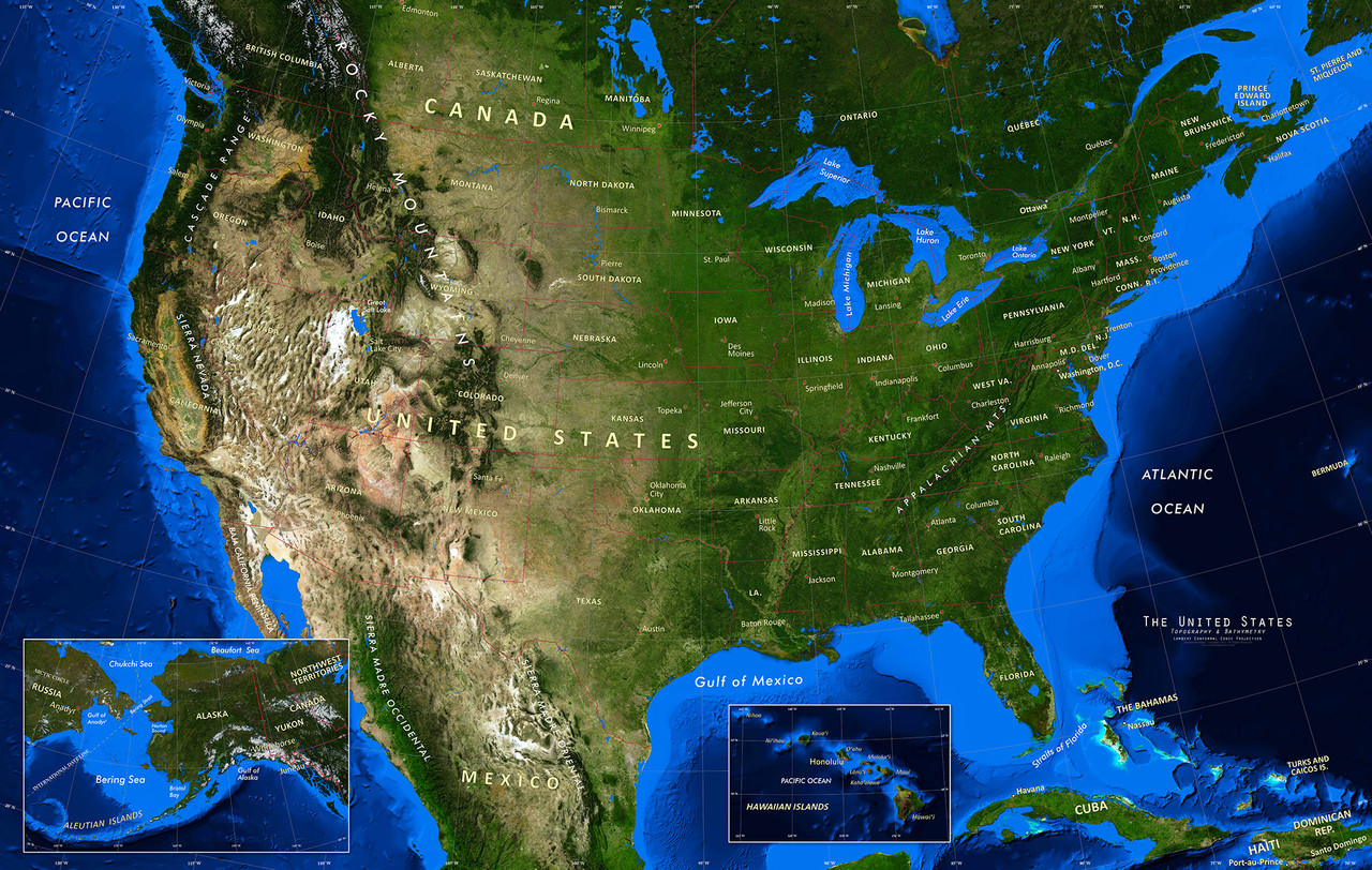 satellite map of the united states United States Satellite Image Wall Map   Topography & Bathymetry