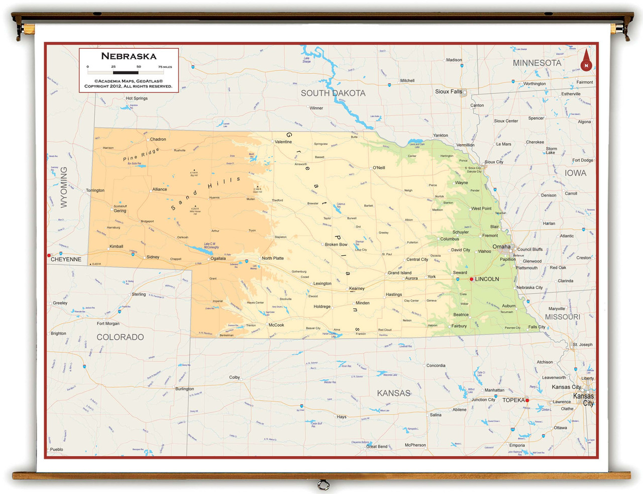 Nebraska State Physical Classroom Map From Academia Maps