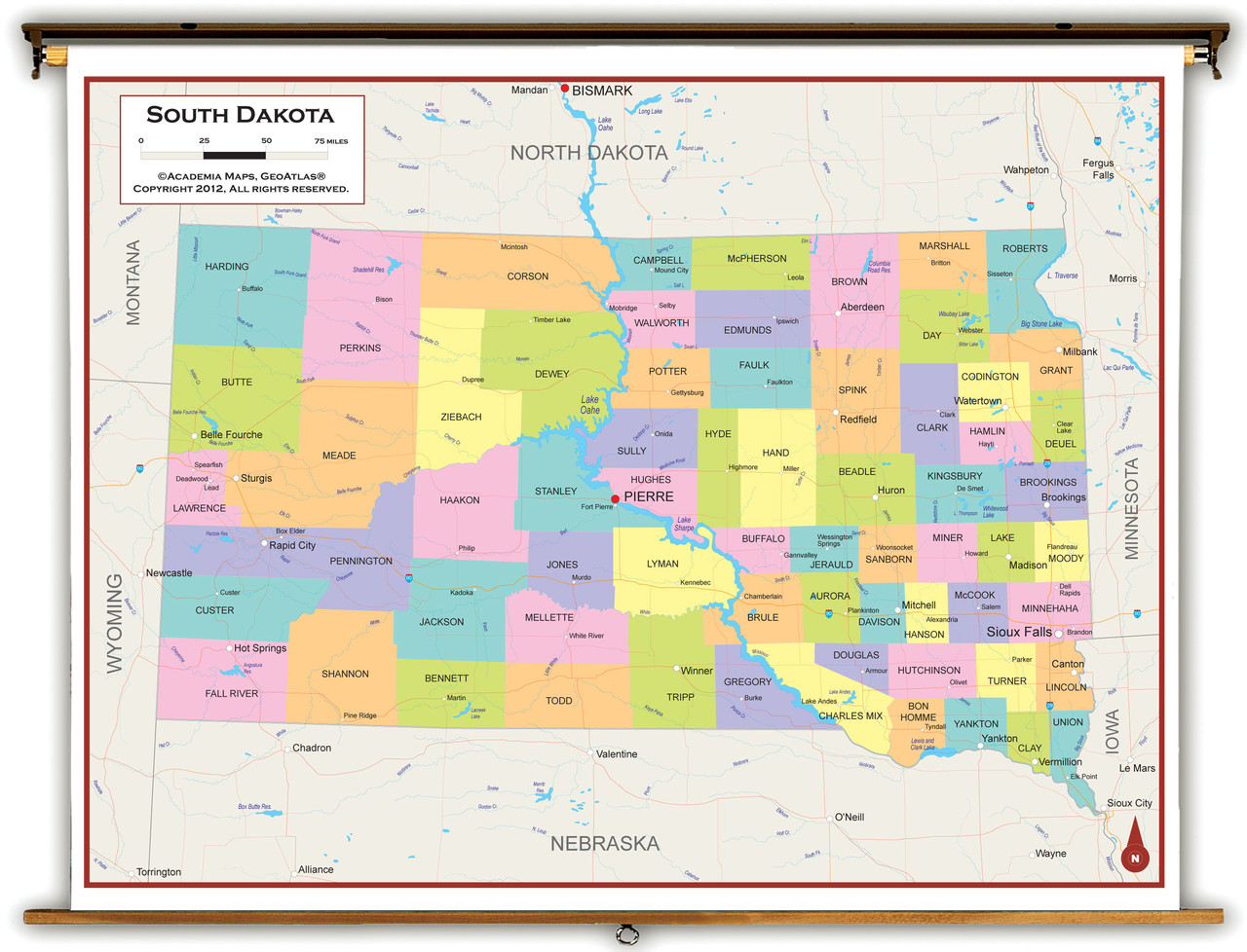 Picture of: South Dakota State Political Classroom Map From Academia Maps