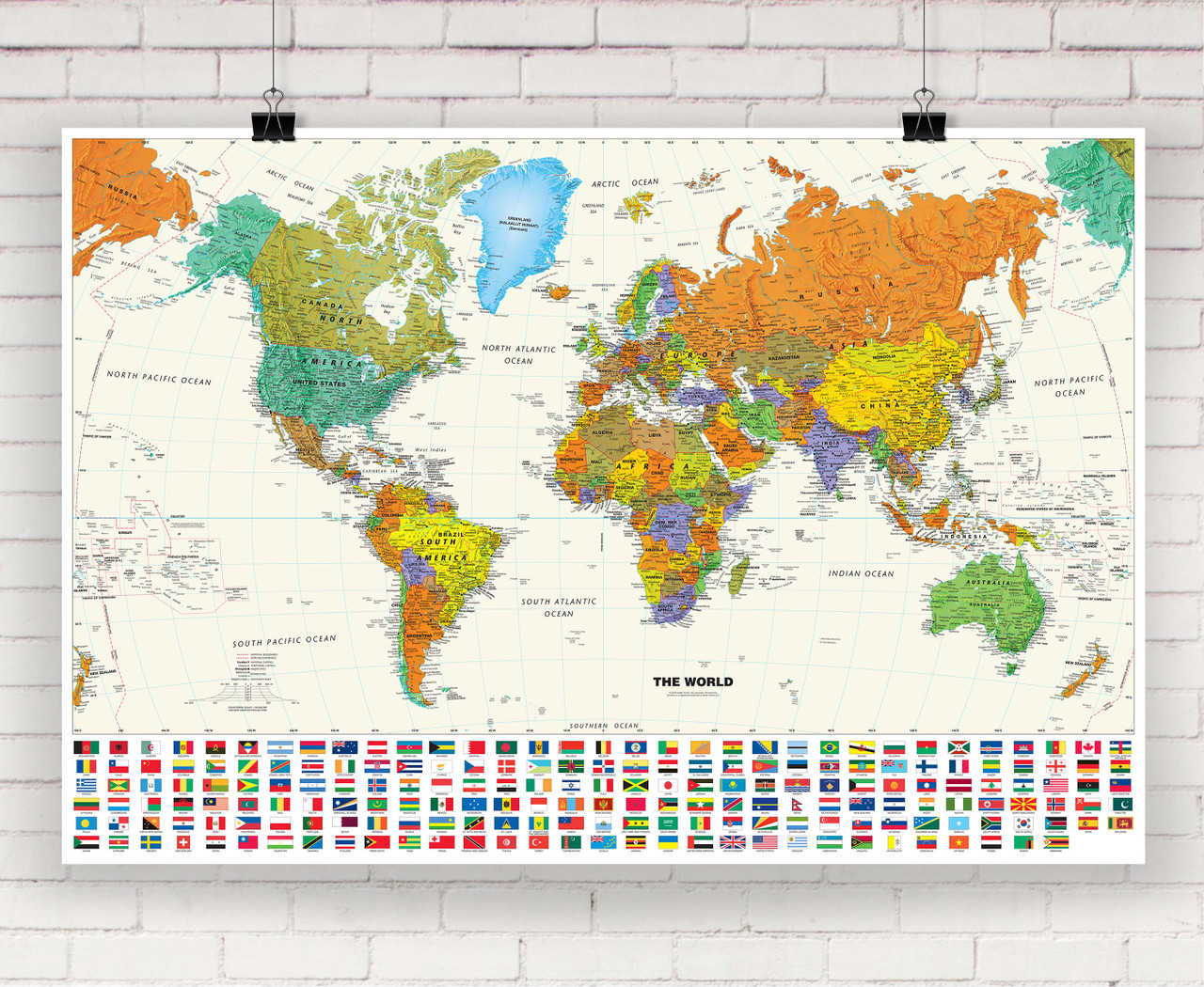 Picture of: Contemporary World Wall Map With Flags