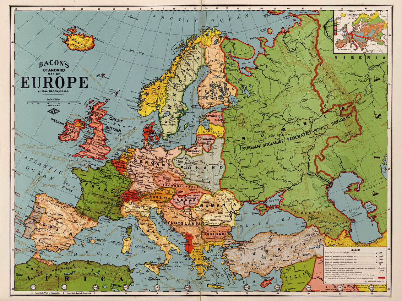 map of europe 1920 Historical Map of Europe   1920's