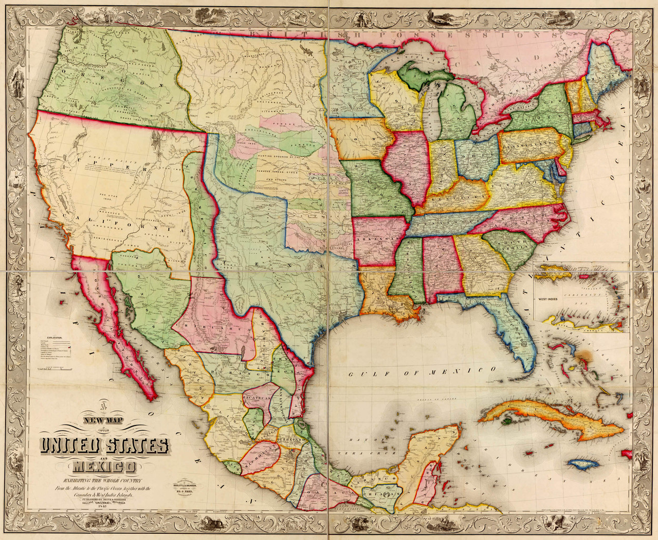 Us And Mexico Map With States Historical Map of the United States and Mexico   1847