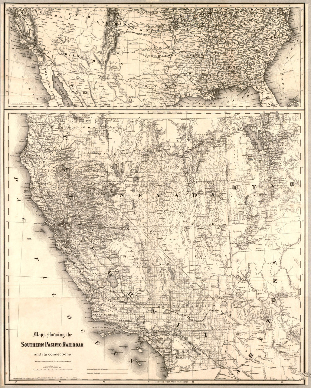 Picture of: Historic Railroad Map Of The Southwest United States 1875