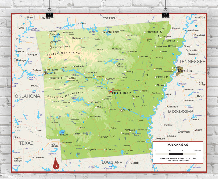 Arkansas Physical State Wall Map