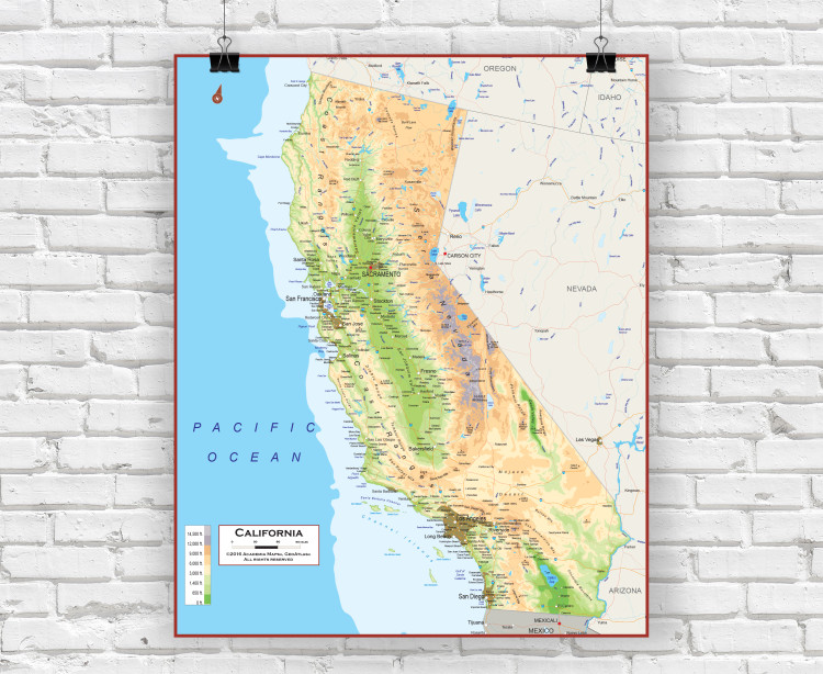 California Physical State Wall Map