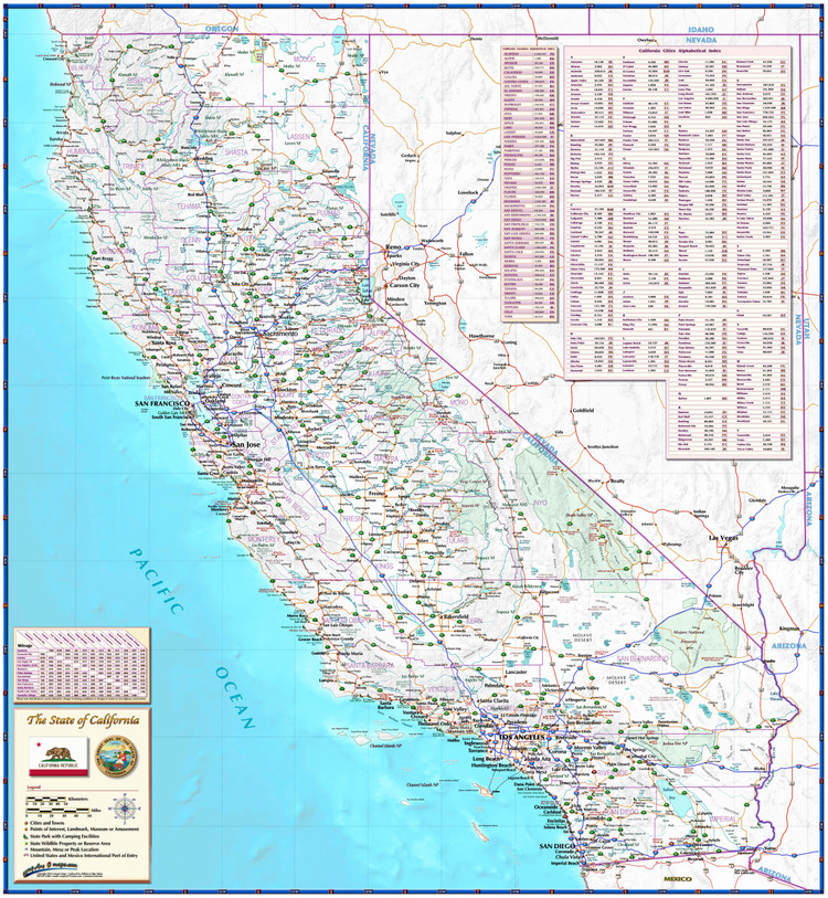 California Roadways Wall Map from Compart
