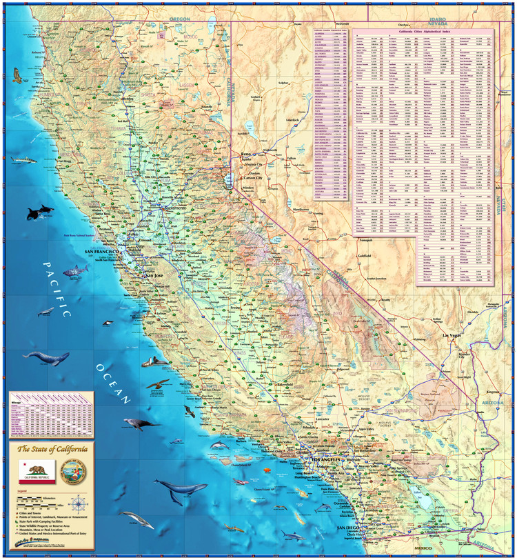 California Illustrated Wall Map from Compart