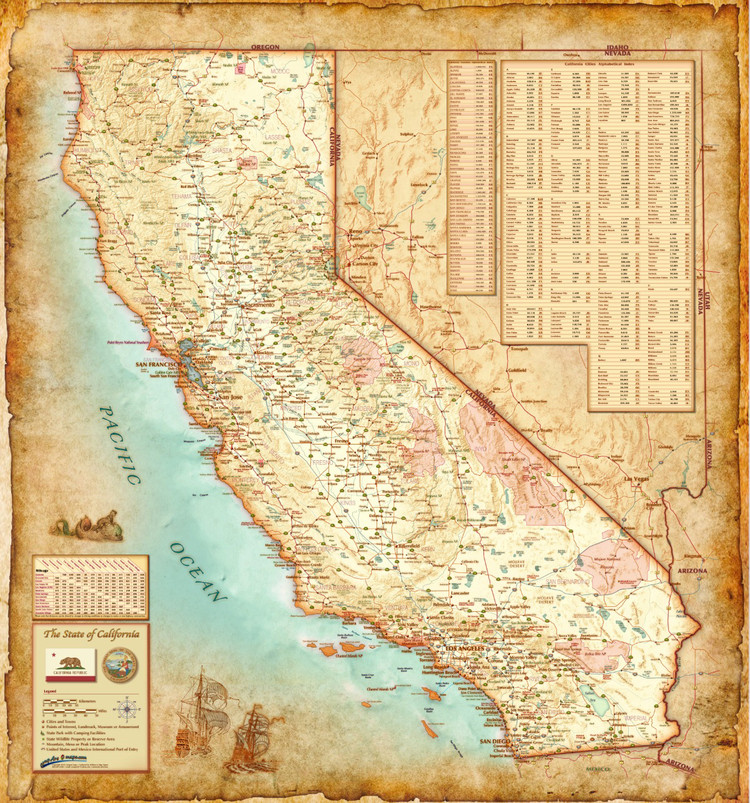 California Antique Wall Map from Compart