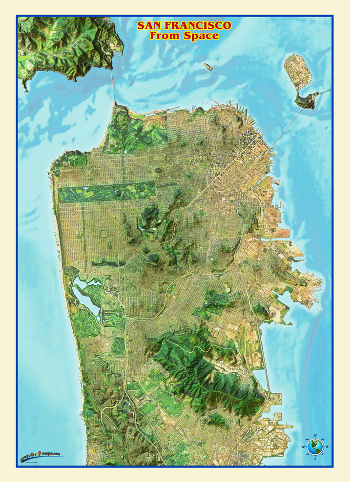 San Francisco from Space Map from Compart