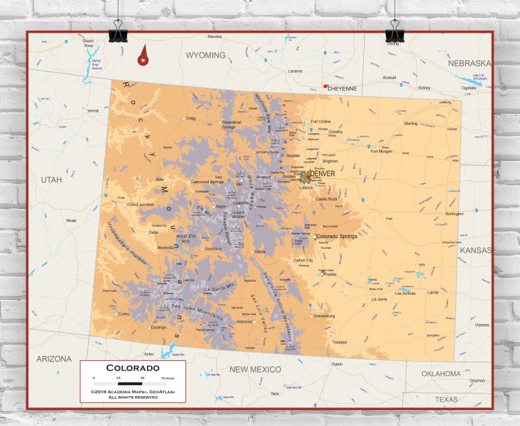 Colorado Physical State Wall Map