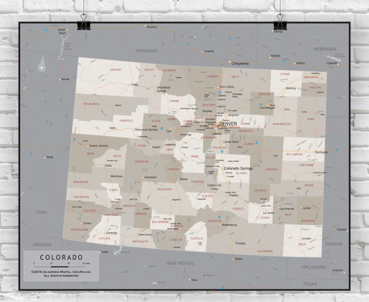 Colorado State Executive Wall Map