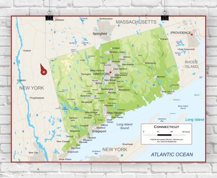 Connecticut Physical State Wall Map