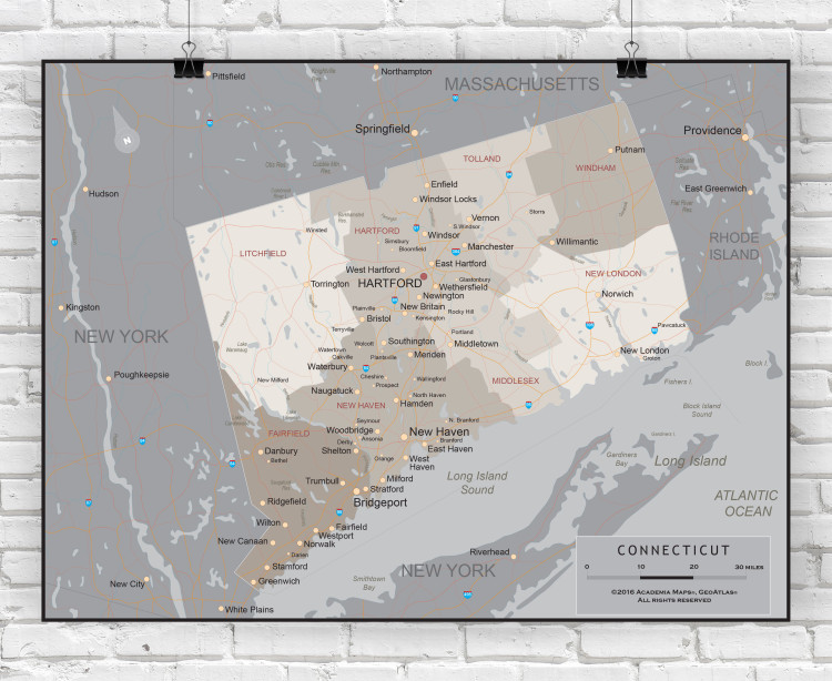 Connecticut State Executive Wall Map