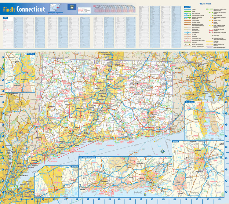 Connecticut Reference Wall Map