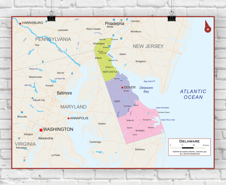 Delaware State Political Wall Map
